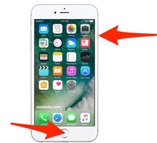 Сделайте снимок экрана в iOS 10
