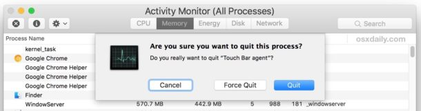 Kill touch bar process to refresh Touch Bar