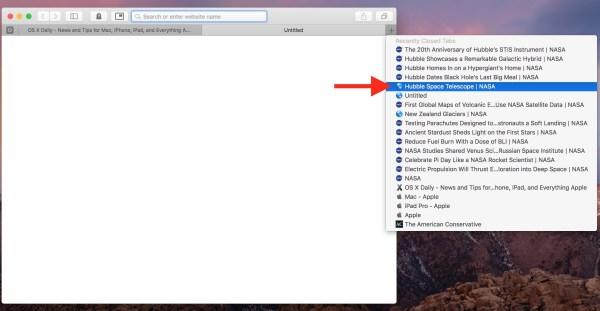 Повторное открытие и выбор вкладок для повторного открытия в Safari на Mac