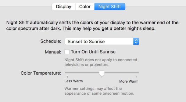 Night Shift in Mac OS