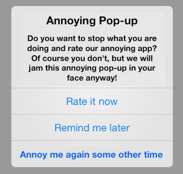 How to stop app review rating pop-ups on iOS