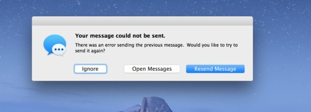 Your message could not be sent error on Mac Messages