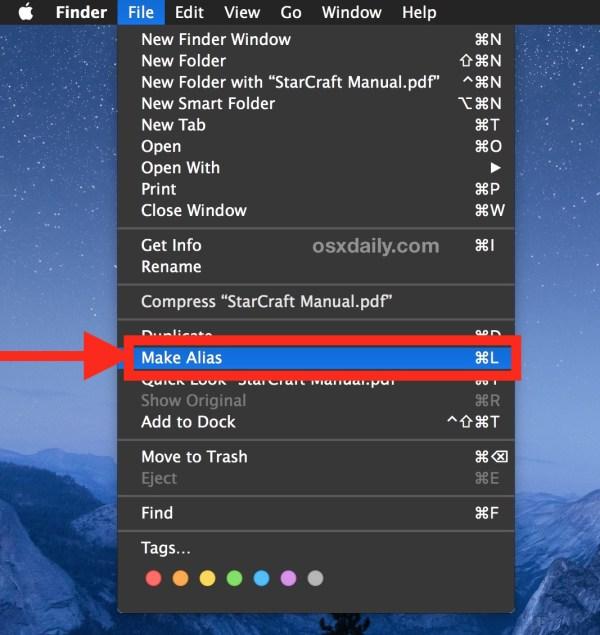 Make an alias on the Mac
