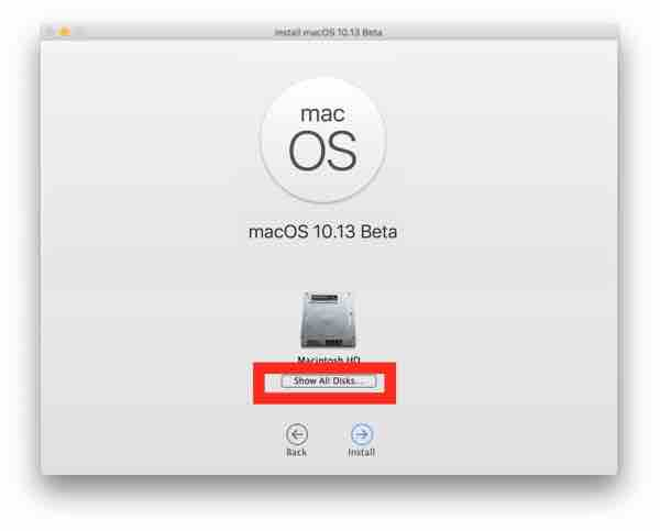 Choose show all disks to select MacOS High Sierra partition to install onto