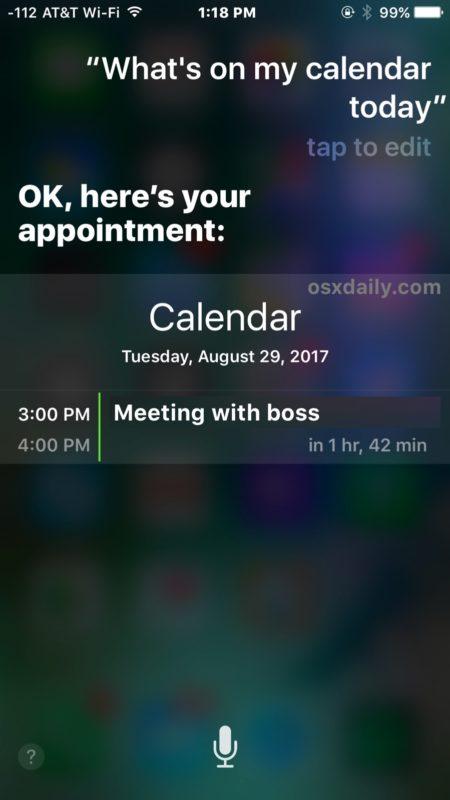 Сири, что у меня сегодня в календаре