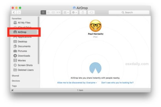 Access AirDrop on Mac
