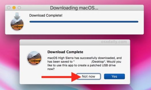 Download of full macOS high sierra installer finished