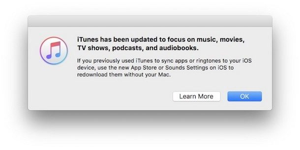iTunes message removing App Store