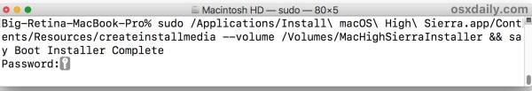 синтаксис команды для создания установщика загрузки macOS High Sierra