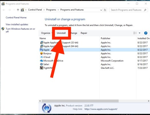 Uninstall iTunes in Windows to downgrade