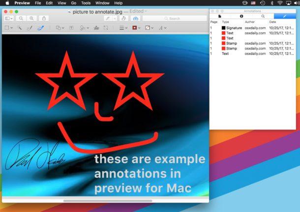 Имена аннотаций в Preview для Mac
