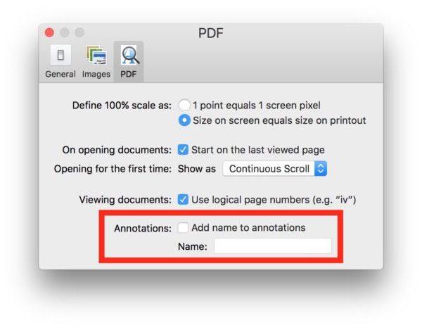 Отключить аннотацию имен в Preview для Mac