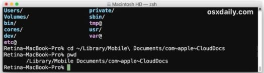 Access iCloud Drive via command line in macOS
