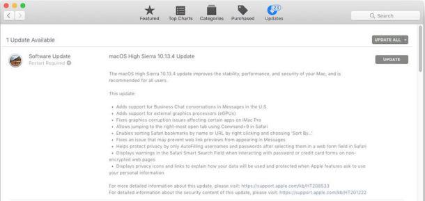 MacOS High Sierra 10.13.4 обновить