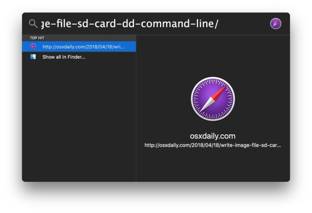 Открыть полную длинную ссылку из Spotlight на Mac