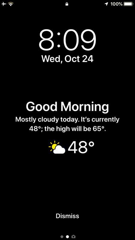 Виджет экрана блокировки погоды на iPhone