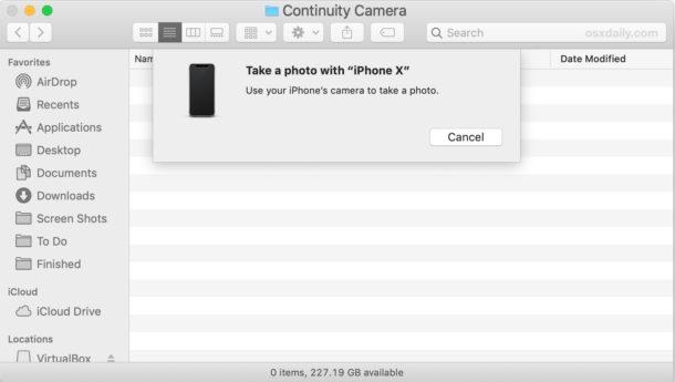 Используйте iPhone или iPad, чтобы делать снимки с помощью камеры Continuity на Mac