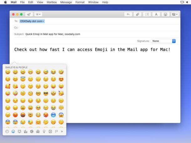Добавление эмодзи с помощью кнопки эмодзи в Mail для Mac