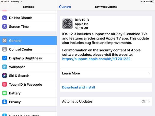 Обновление iOS 12.3 для iPhone и iPad