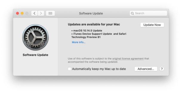MacOS 10.14.5 обновить