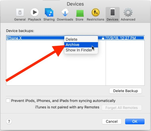 Archive a backup in iTunes