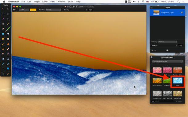 Invertieren sie auf dem Mac mit Pixelmator Invert-Effekt