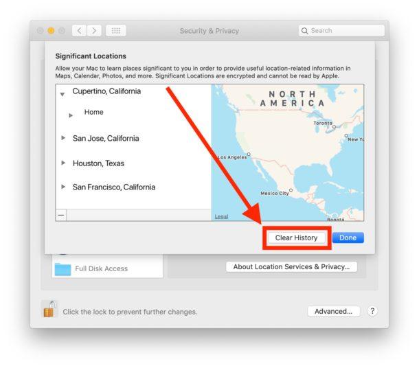 Как очистить и отключить важные местоположения на Mac