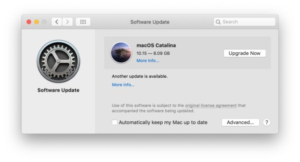 MacOS Catalina download upgrade available