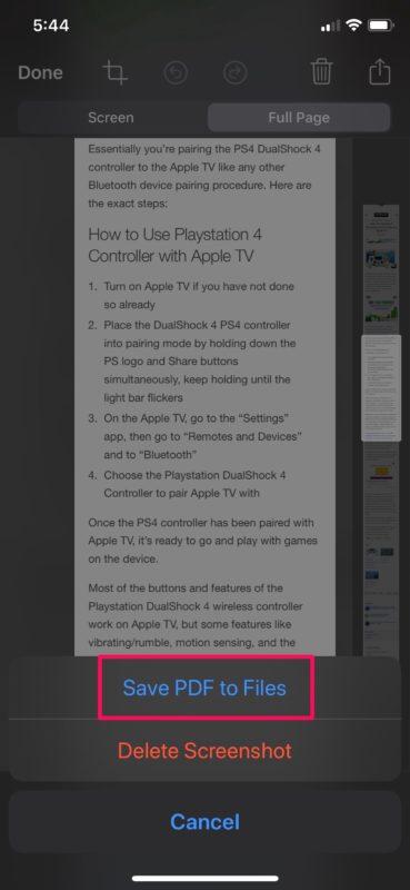Guardar capturas de pantalla completas como PDF