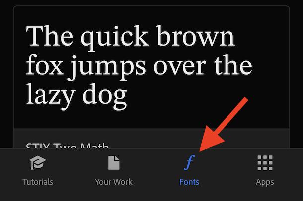 Коснитесь шрифтов