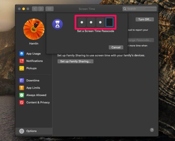 Как установить пароль для экранного времени на Mac