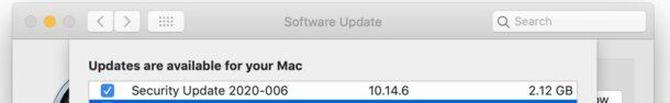 Обновление безопасности MacOS Mojave 2020-006