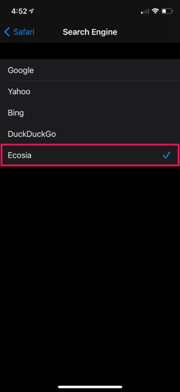 Как установить Ecosia в качестве поисковой системы по умолчанию на iPhone