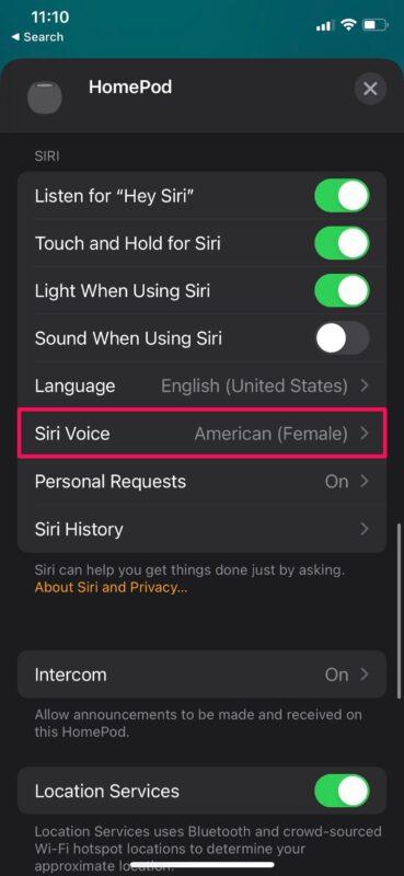 Как изменить голос Siri и акцент на HomePod