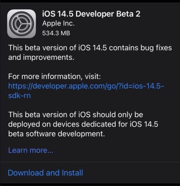 iOS 14.5, бета 2