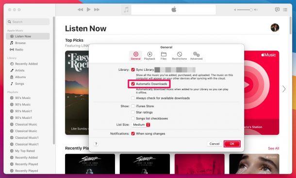 Как включить автоматическую загрузку музыки на Mac