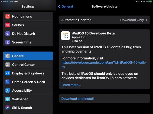 Загрузите и установите бета-версию iPadOS 15