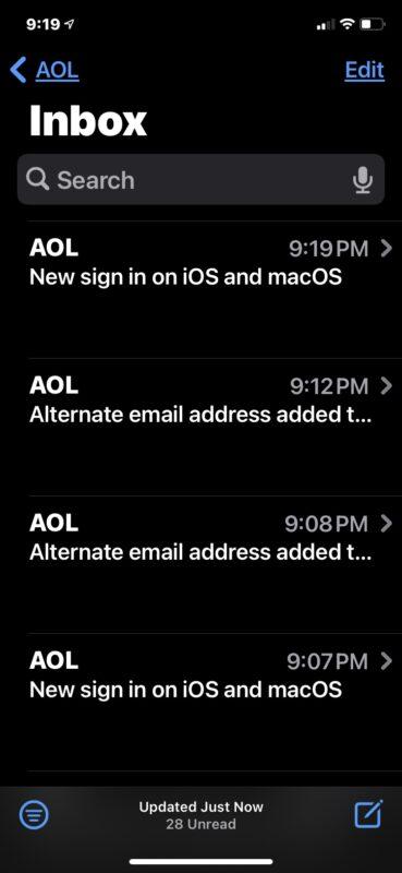 Почта AOL снова работает нормально