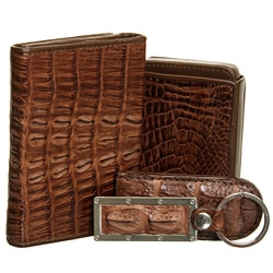 Croton 4-piece Crocodile Brown Mens Wallet Set