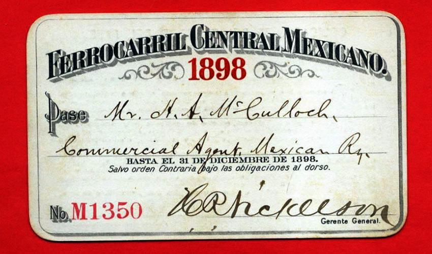 Un pase del Ferrocarril Central Mexicano, para el año 1898