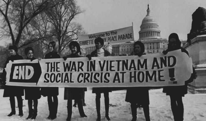 Una cantidad considerable de jóvenes estadounidenses se manifestaron contra la Guerra de Vietnam