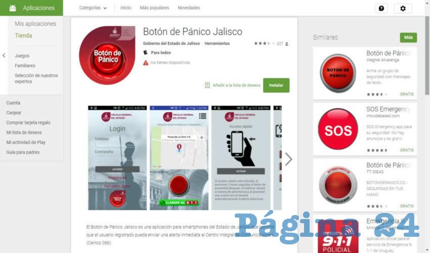 La aplicación de botón de pánico creada por la Fiscalía de Jalisco ha fracasado por la falta de infraestructura tecnológica y poca actualización de las mismas, además de que la falta de respuesta no es la esperada, y para poder ingresar al servicio se tienen que dar datos personales/Captura de pantalla