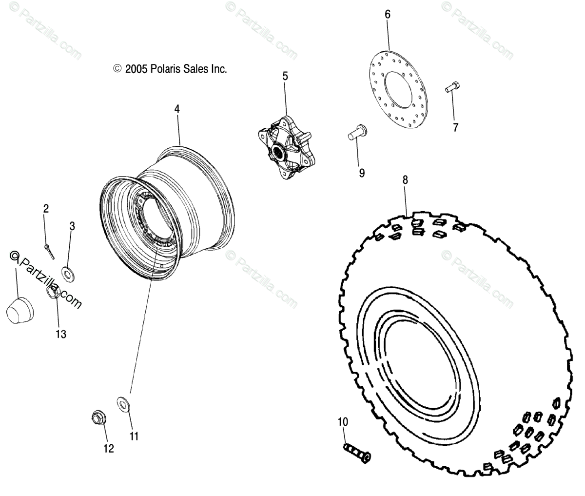 Polaris Side By Side Oem Parts Diagram For Wheel