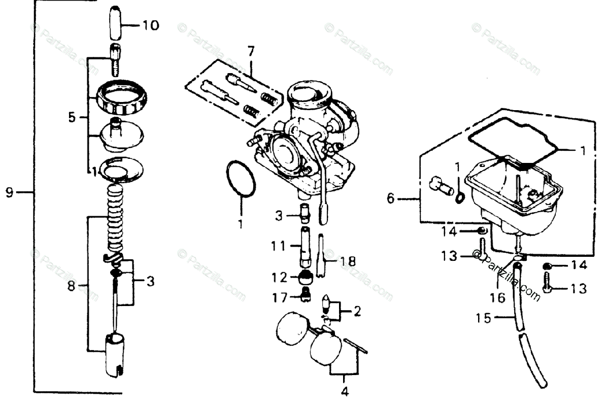 Honda Motorcycle Oem Parts Diagram For Carburetor
