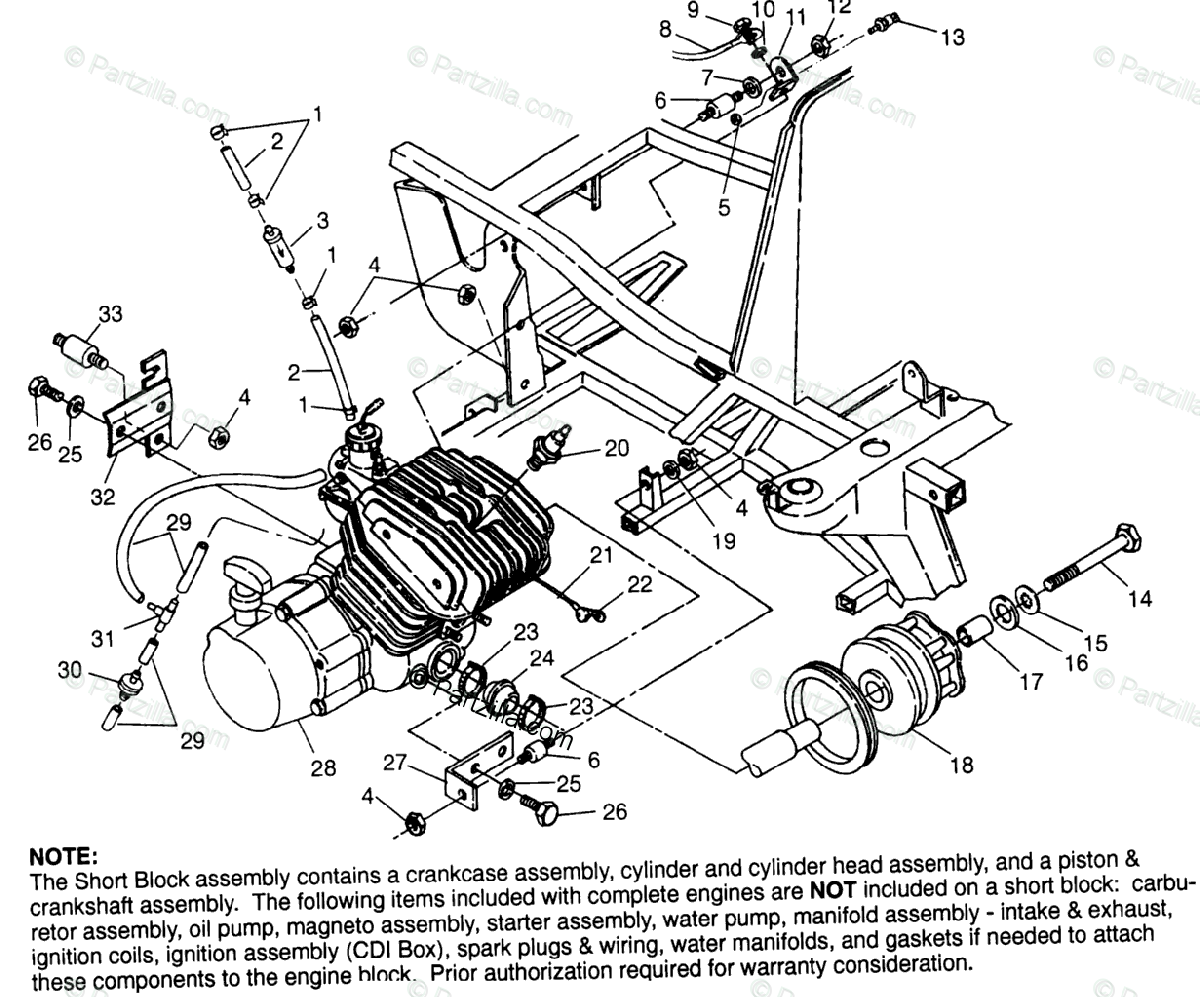 Polaris Atv Oem Parts Diagram For Engine Mounting