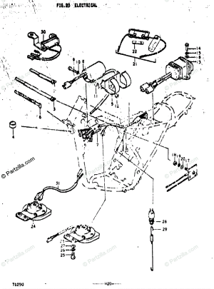 Suzuki Motorcycle 1972 OEM Parts Diagram for Electrical