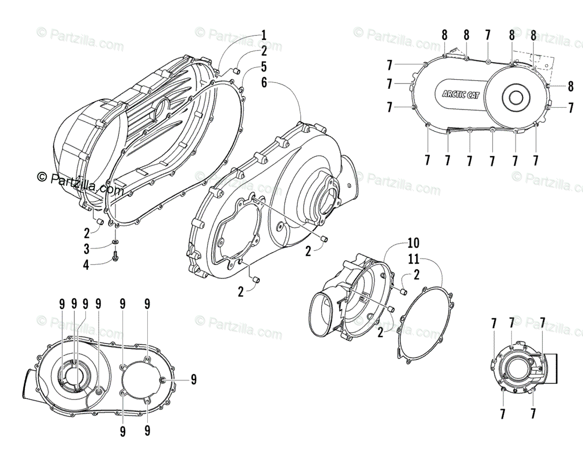 Arctic Cat Side By Side Oem Parts Diagram For Clutch Side Engine Covers