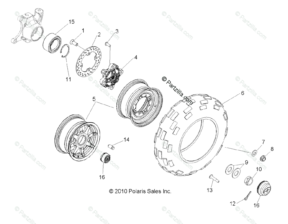 Polaris Side By Side Oem Parts Diagram For Wheels