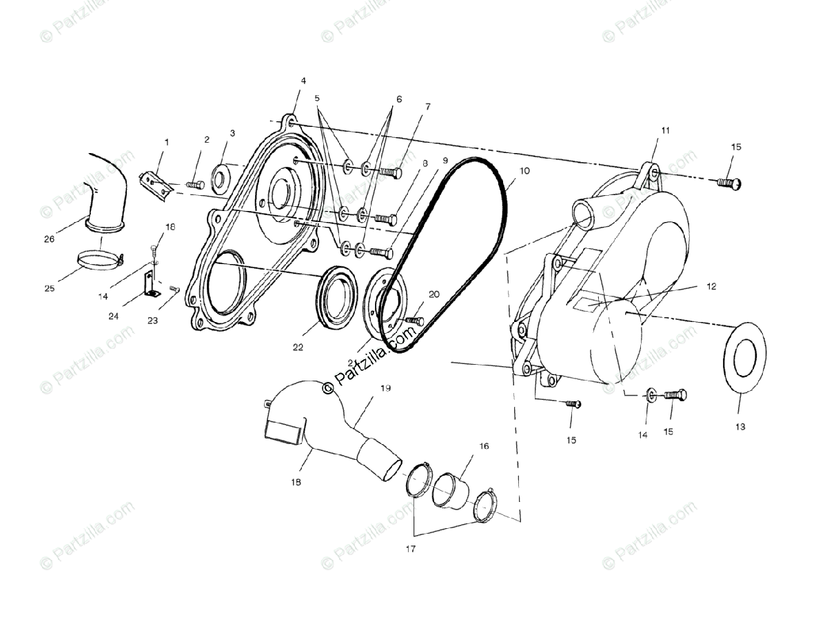 Polaris Atv Oem Parts Diagram For Clutch Cover