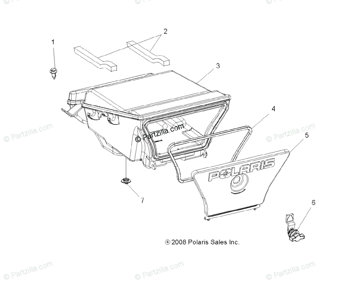 Polaris Atv Oem Parts Diagram For Body Storage Box